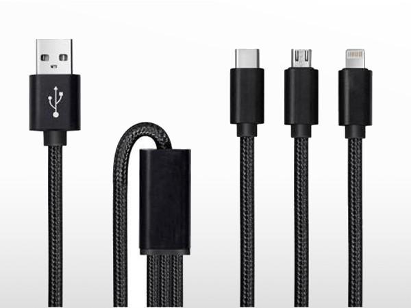 Trident / câble USB 3 en 1   1m (USB-C + micro-USB + lighting Apple)