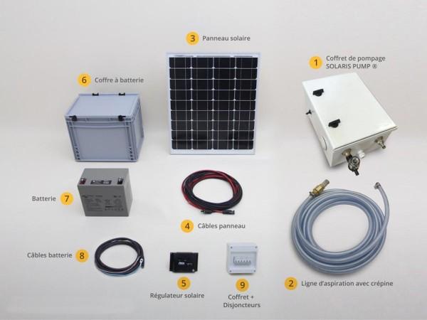Kit d'arrosage et pompage professionnel avec panneau solaire et batterie pour fonctionnement autonome.