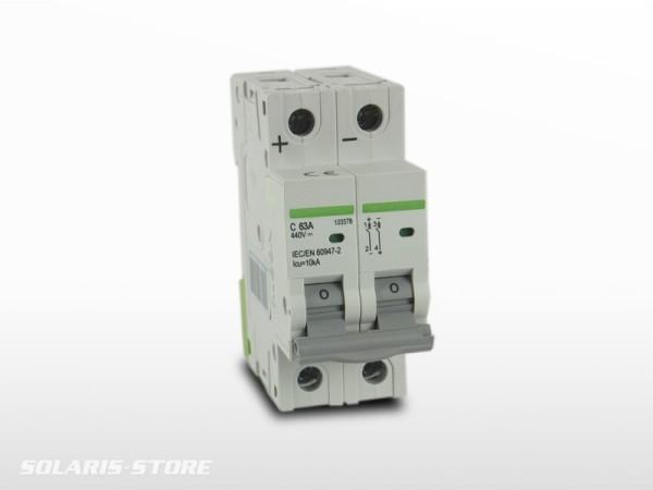 Disjoncteur Bipolaire DC courant continu 63A