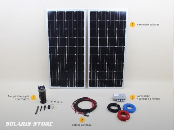 Kit pompe solaire immergée SHURFLO 9325 pour pompage autonome au fil du soleil