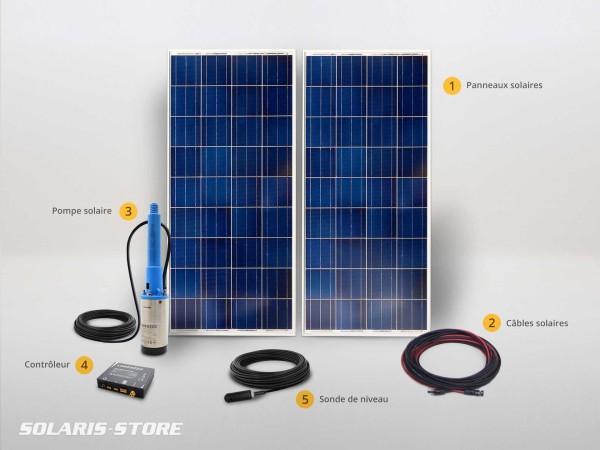 Kit pompe solaire immergée LORENTZ 230W jusqu'à 5m3 par jour pour pompage autonome au fil du soleil à 40 mètres max.