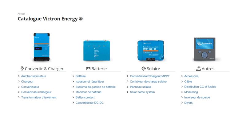 Catalogue Victron, tout le matériel : onduleur, chargeur, batterie