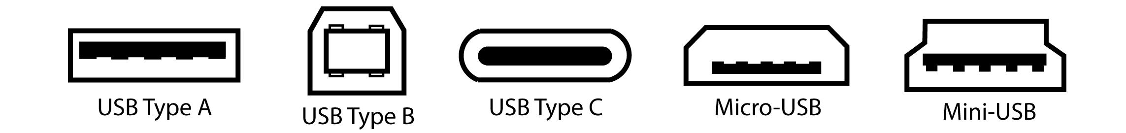 Différentes connectiques USB