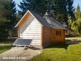 Installation d'un kit panneau solaire 100W pour l'éclairage d'une cabane, refuge communale à Oyonnax