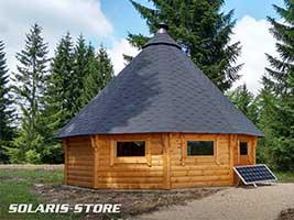 Commune d'Oyonnax, électrification d'un chalet bois avec un kit 150W