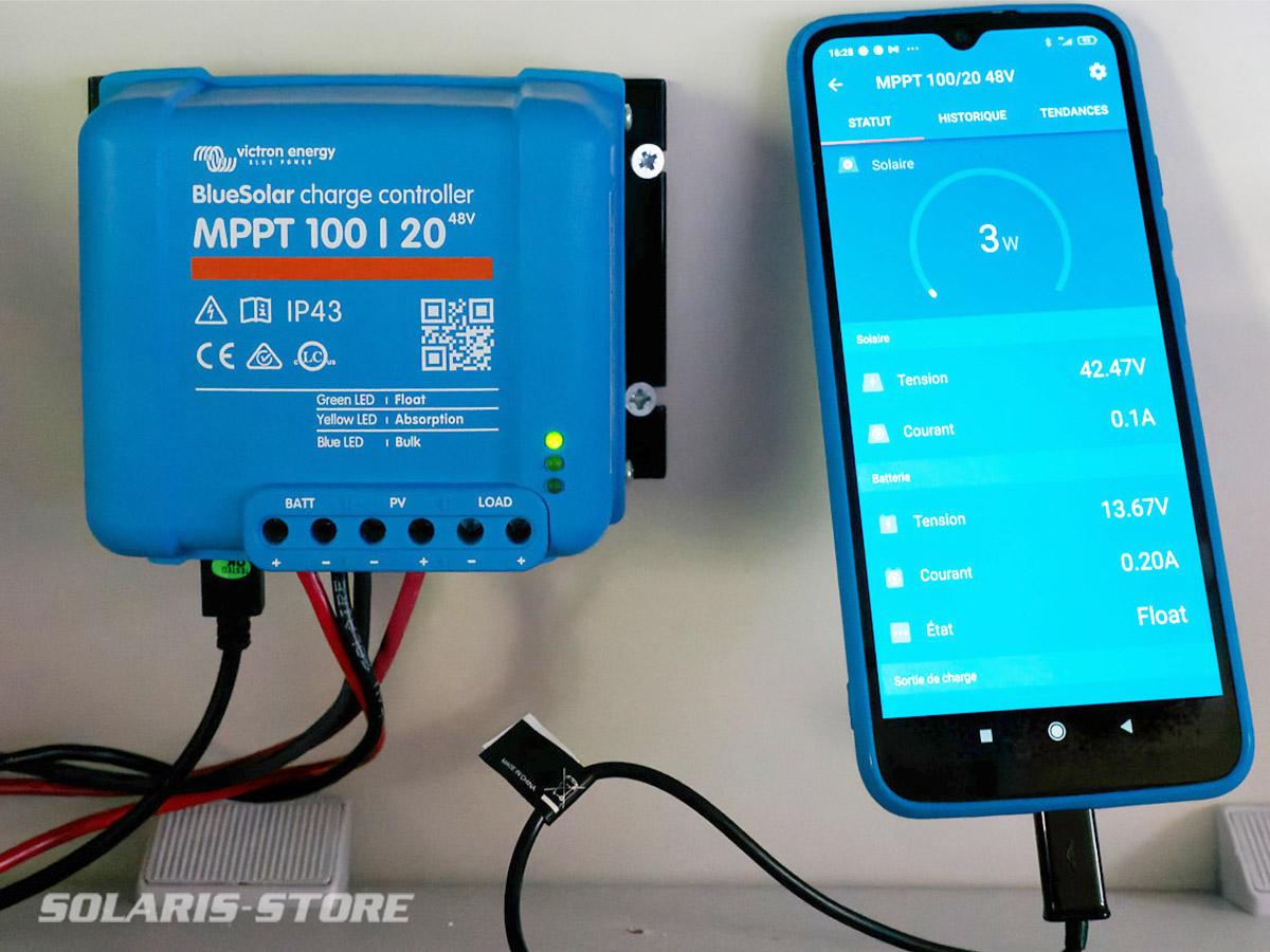 Régulateur Victron MPPT connecté à VictronConnect avec le Dongle Bluetooth