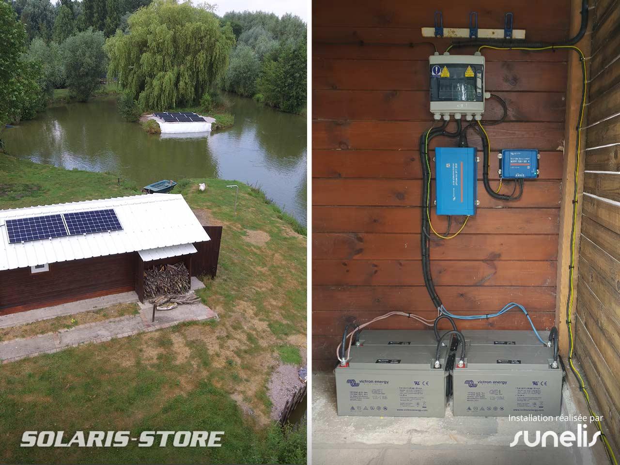 Nord (59) / Kit panneau solaire autonome permetant d'alimenter une cabane de pêche près de Lille