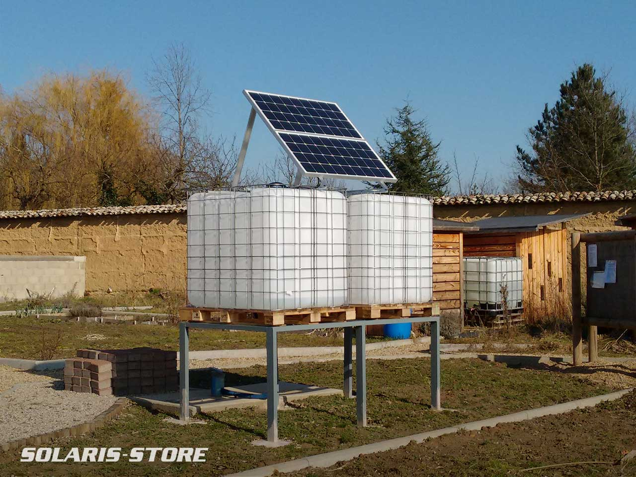 Rhône (69) / Pompage solaire et irrigation d´un potager collectif avec cuve de stockage