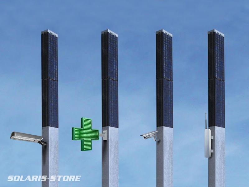 TOTEM SOLAIRE / Solution développé par Solaris, générateur solaire 360° anti-vol pour la vidéo, les telecoms, la signalétique...