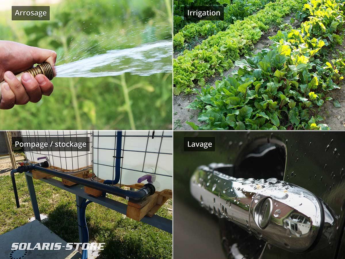 Kit panneau solaire pour arrosage, lavage, irrigation ou stockage d'eau dans une cuve de récupération