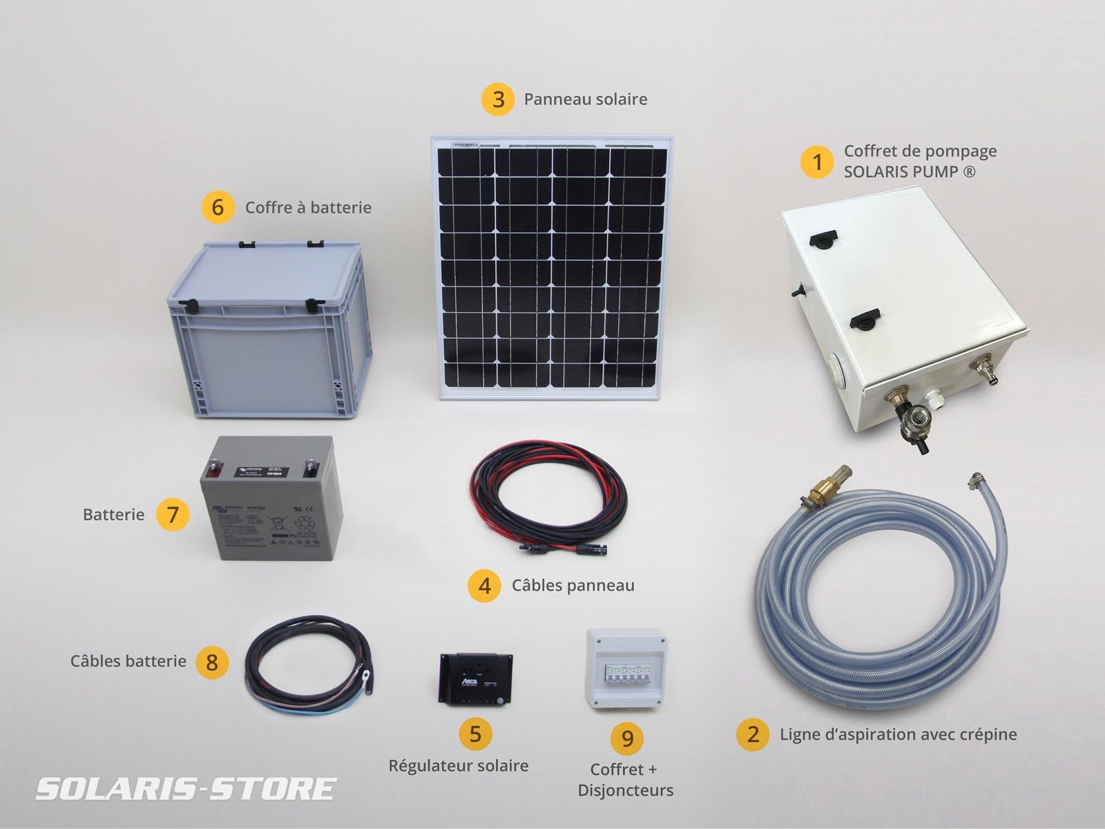 Kit d'arrosage, pompage et lavage à panneau solaire autonome, équipé d'une pompe SHURFLO ® 19 L/min - 4.5 bars