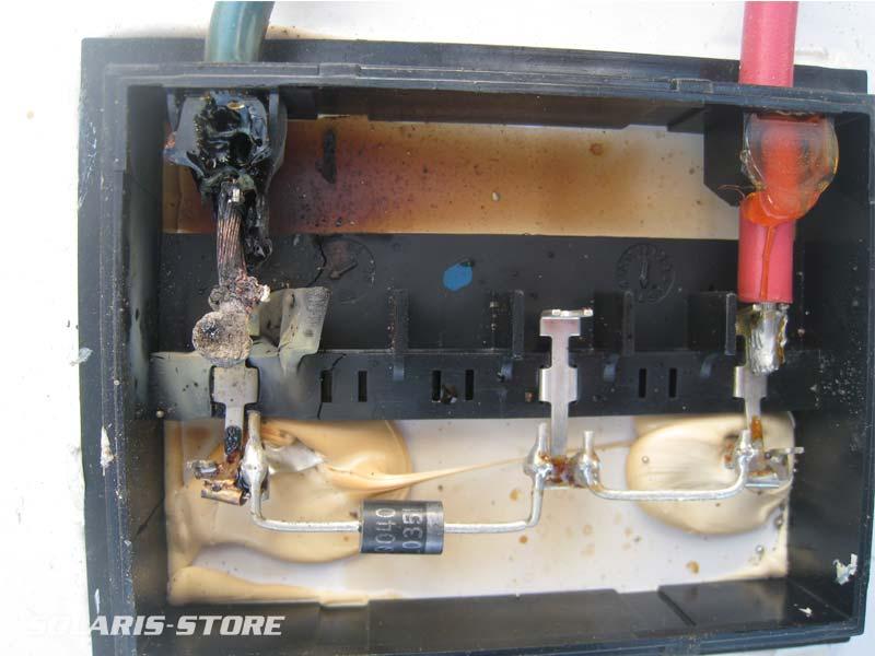 Boite de connexion d'un panneau photovoltaïque fondue