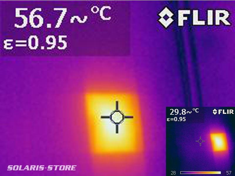 Mesure thermique d'un point chaud sur panneau solaire