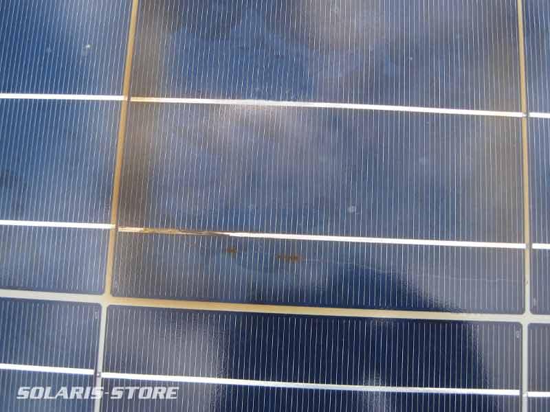 Oxydation et point chaud d'une soudure de cellule photovoltaïque