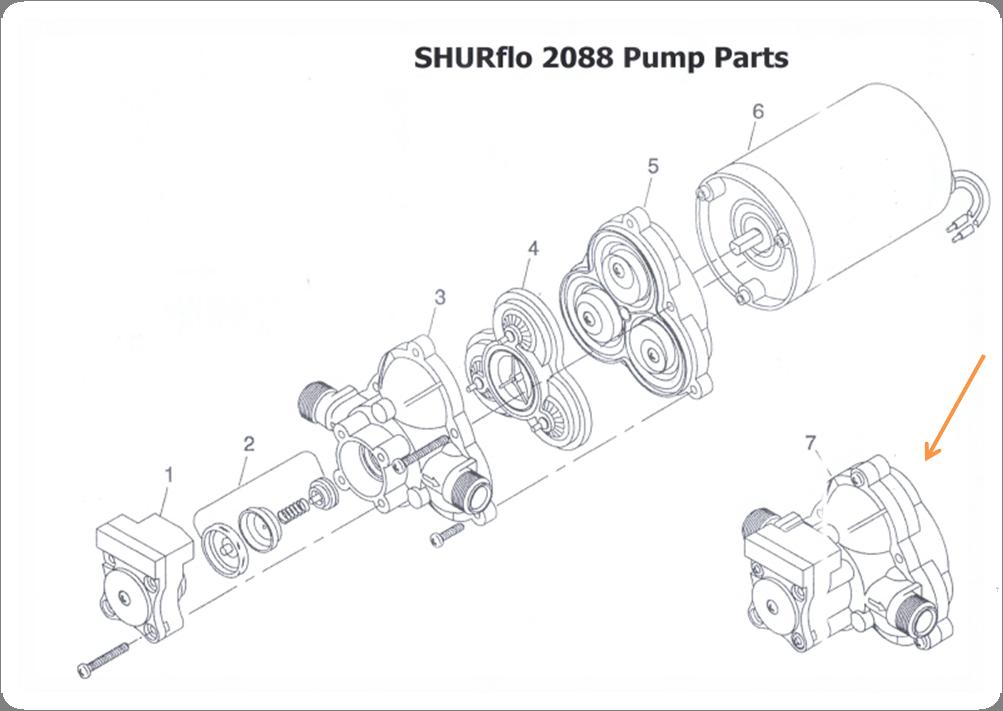 Boîtier supérieur/Kit commutateur pour Shurflo 2088