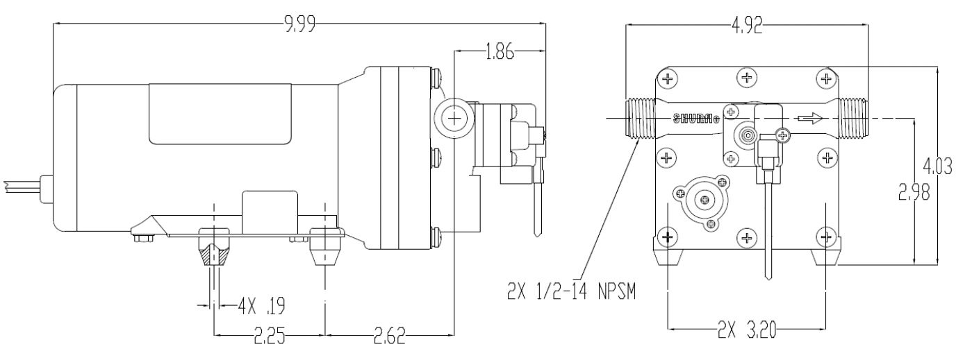 Dimensions pompe de surface 5050-2301-c011