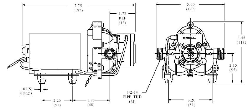 dimensions pompe shurflo 2088-403-143