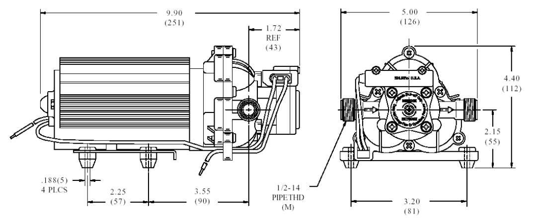 dimensions pompe shurflo 2088-514-145