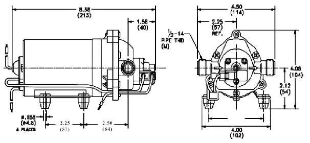 dimensions pompe shurflo 8000-443-136